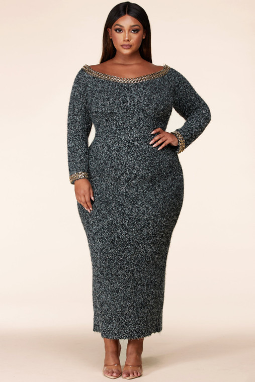 Qualified Show Off! Sweater Maxi Dress- Front View
