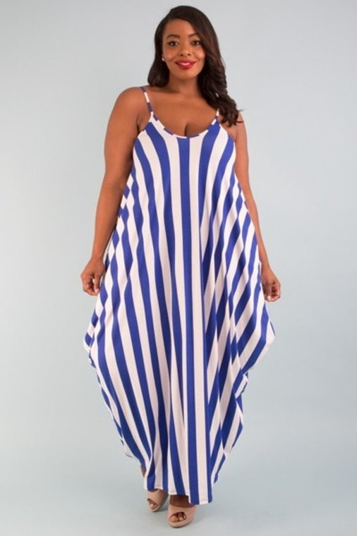 For the Love of Stripes Plus Size- Blue