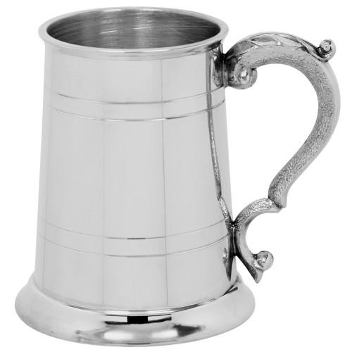 1 Pint English pewter tankard with Georgian handle