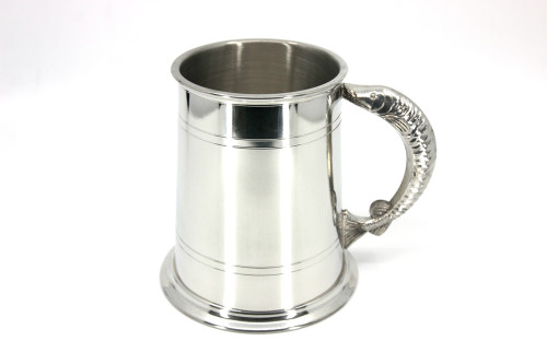 Pewter tankard with fish design handle