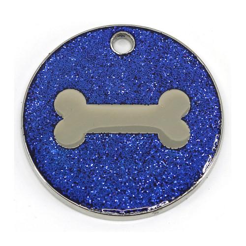 Blue glitter dog tag with bone design