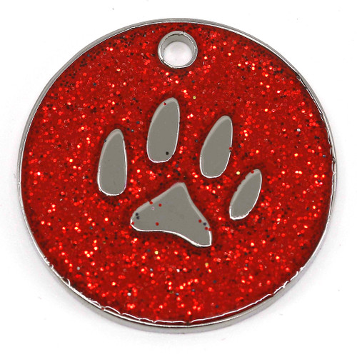 Red glitter dog tag with paw design