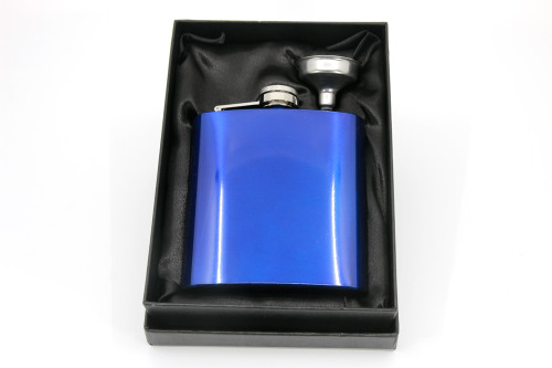 Blue stainless steel hip flask in gift box