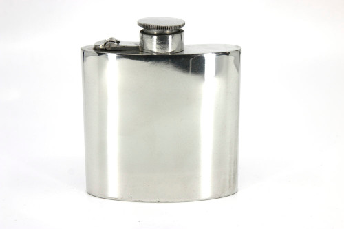 6oz Pewter hip flask with captive top