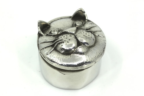 Pewter Cat Design Trinket Box
