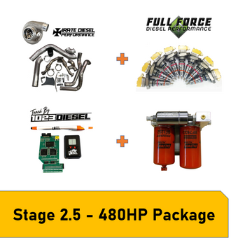 Stage 2.5 Package - 480HP OBS 94-97 7.3L PowerstrokePackage Includes:  Irate Diesel T4 Mount Kit with S364.5SX-E (Includes Up-pipes, Downpipe, Intercooler Pipes, turbo & mounting hardware)- Full Force Diesel205/80 Hybrid Injectors- Irate Diesel Complete Electric Fuel System PHP Hydra + 1023 Diesel Tuning- 1023 Diesel 30 Day Tuning Revision Support Pack- Free Shipping in the USA