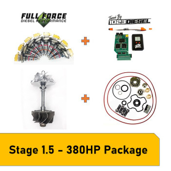 Stage 1.5 Package - 380-400HP Early 1999 7.3L Powerstroke What Can This Kit Be Used For?This package is great for towing any weight and fast spool up, while staying reliable and not needing head studs, valve-springs, and pushrods or an upgraded HPOP.A stock Early 99 truck will dyno at aproximately 180HP and 375lb.ft of torque. This Stage 1.5 package is capable of 380-400HP and 700-750lb.ft of torque.Paired with 1023 Diesel Tuning this setup is clean, cool and perfect for taking that stock truck to the next level and keep up with the new models rolling off the assembly line.Package Includes:- KC Turbos Billet Wheel & S300 Turbine Wheel- KC Turbos 360* Turbo Rebuild Kit- Full Force Diesel Stage 1.5 (160/30) Injectors - PHP Hydra + 1023 Diesel Tuning- 1023 Diesel 30 Day Tuning Revision Support Pack- Free Shipping in the USA