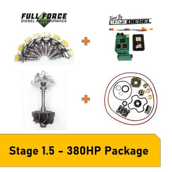 Stage 1.5 Package - 380-400HP 99.5-03 7.3L Powerstroke What Can This Kit Be Used For? This package is great for towing any weight and fast spool up, while staying reliable and not needing head studs, valve-springs, and pushrods or an upgraded HPOP. A stock Late 99-03 truck will dyno at aproximately 190HP and 380lb.ft of torque. This Stage 1.5 kit is capable of 380-400HP and 700-750lb.ft of torque.Paired with 1023 Diesel Tuning this setup is clean, cool and perfect for taking that stock truck to the next level and keep up with the new models rolling off the assembly line. Package Includes KC Turbos Billet Wheel & S300 Turbine Wheel KC Turbos 360* Turbo Rebuild Kit Full Force Diesel Stage 1.5 (160/30) Injectors PHP Hydra + 1023 Diesel Tuning 1023 Diesel 30 Day Tuning Revision Support Pack Free Shipping in the USA