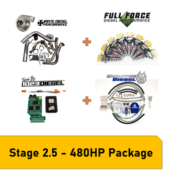 Stage 2.5 Package 450-480HP Early 1999 7.3L Powerstroke What Can This Kit Be Used For? This package is great for towing any weight and fast spool up, whilestaying reliable and not needing head studs, valve-springs and pushrods or an upgraded HPOP A stock Early 1999 truck will dyno at around 180HP and 375lb.ft of torqueThis setup is capable of 450-480HP and 750-850lb ft of torque Paired with 1023 Diesel Tuning this setup is clean cool and perfect for taking that stock truck to the next level and keep up with the new models rolling off the assembly line Package Includes Irate Diesel T4 Mount Kit with S364.5SX-E Full Force Diesel205/80 Hybrid Injectors Sinister Diesel Regulated Return System (Comes with Filter)PHP Hydra + 1023 Diesel Tuning