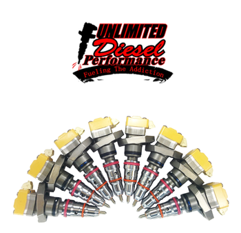 Unlimited Diesel Stage 1.5 (175/30) Injector Set | 94-03 7.3L Powerstroke  These Injectors are GREAT for anything from stock to 400hp. These will work on a stock fuel system, HPOP*, and turbo if needed.Each Unlimited Diesel Performance Powerstroke fuel injector:Includes NEW Tungsten coated Plunger & Barrel assemblies Includes NEW Nozzles Has o-rings replaced, and new nozzle springs installed Solenoids are all inspected for proper resistance Cores thoroughly cleaned using a Pro Ultrasonic cleaning unit for a super clean injector body.Injector clearances reset to proprietary specs Is bench tested at a full range of RPMS and oil pressures Is backed by Unlimited Diesel's limited lifetime warranty