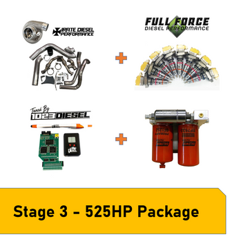 Stage 3 Package - 525HP | 99.5-03 7.3L PowerstrokePackage Includes: - Irate Diesel T4 Mount Kit with S366SX-E (Includes Up-pipes, Downpipe, Intercooler Pipes, turbo & mounting hardware) - Full Force Diesel 238/80 Hybrid Injectors (Or other variation from dropdown) - Irate Diesel Complete Electric Fuel System - PHP Hydra + 1023 Diesel Tuning - 1023 Diesel 30 Day Tuning Revision Support Pack - Free Shipping in the Continental  USA