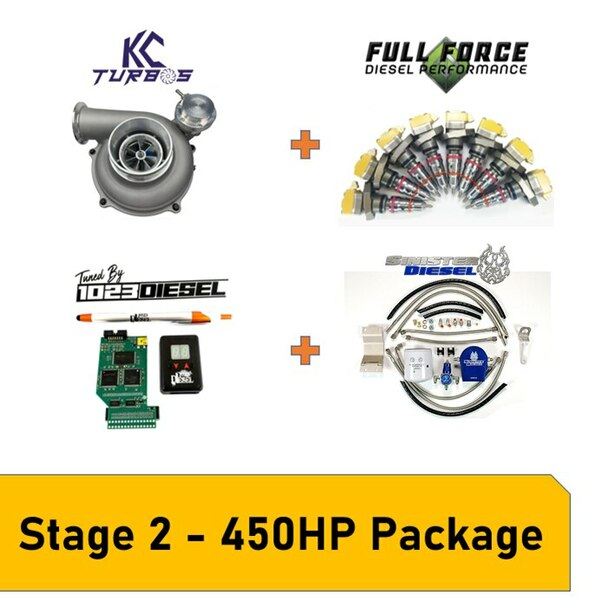 Stage 2 Package 450HP Late 99-03 7.3L Powerstroke This package is great for towing any weight and fast spool up, whilestaying reliable and not needing head studs, valve-springs and pushrods or an upgraded HPOP A stock Early 1999 truck will dyno at around 180HP and 375lb.ft of torqueThis setup is capable of 450-480HP and 750-850lb ft of torque Paired with 1023 Diesel Tuning this setup is clean cool and perfect for taking that stock truck to the next level and keep up with the new models rolling off the assembly line Package Includes KC Turbos 300X 63/73 1.0 a/r Drop-In turbo Full Force Diesel205/80 Hybrid Injectors Sinister Diesel Regulated Return System (Comes with Filter)PHP Hydra + 1023 Diesel Tuning