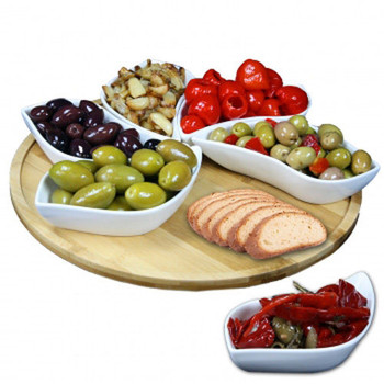 Elama Signature Modern 13.5 Inch 7pc Lazy Susan Appetizer and Condiment Server S