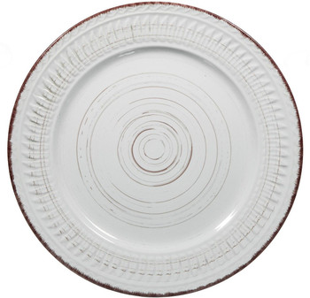 """10.75""""D Cosenza White Round Dinner Plate Set of 2 by Home Essentials"""
