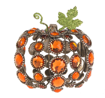 """Jewel Orange Tabletop 3.5"""" Pumpkins Set of 2 from Crystal Expressions by Ganz"""
