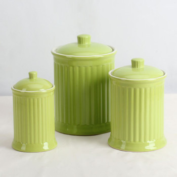 Simsbury Ceramic Canister Set of 3 in Citron Green by Omni Housewares