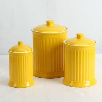 Simsbury Ceramic Canister Set of 3 in Yellow by Omni Housewares