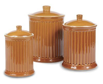 Simsbury Ceramic Canister Set of 3 in Honey Mustard by Omni Housewares