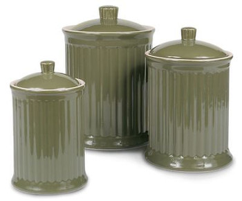Simsbury Ceramic Canister Set of 3 in Olive by Omni Housewares