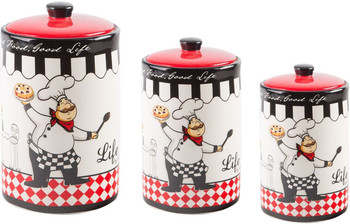 Set Of 3 Chef Design Round Canisters  by Home Essentials