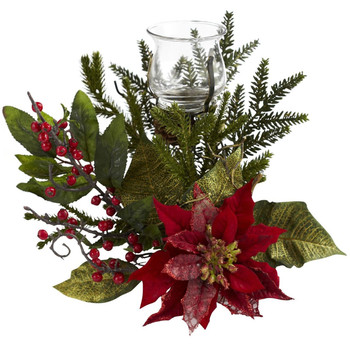 Poinsettia Candelabrum by Nearly Natural