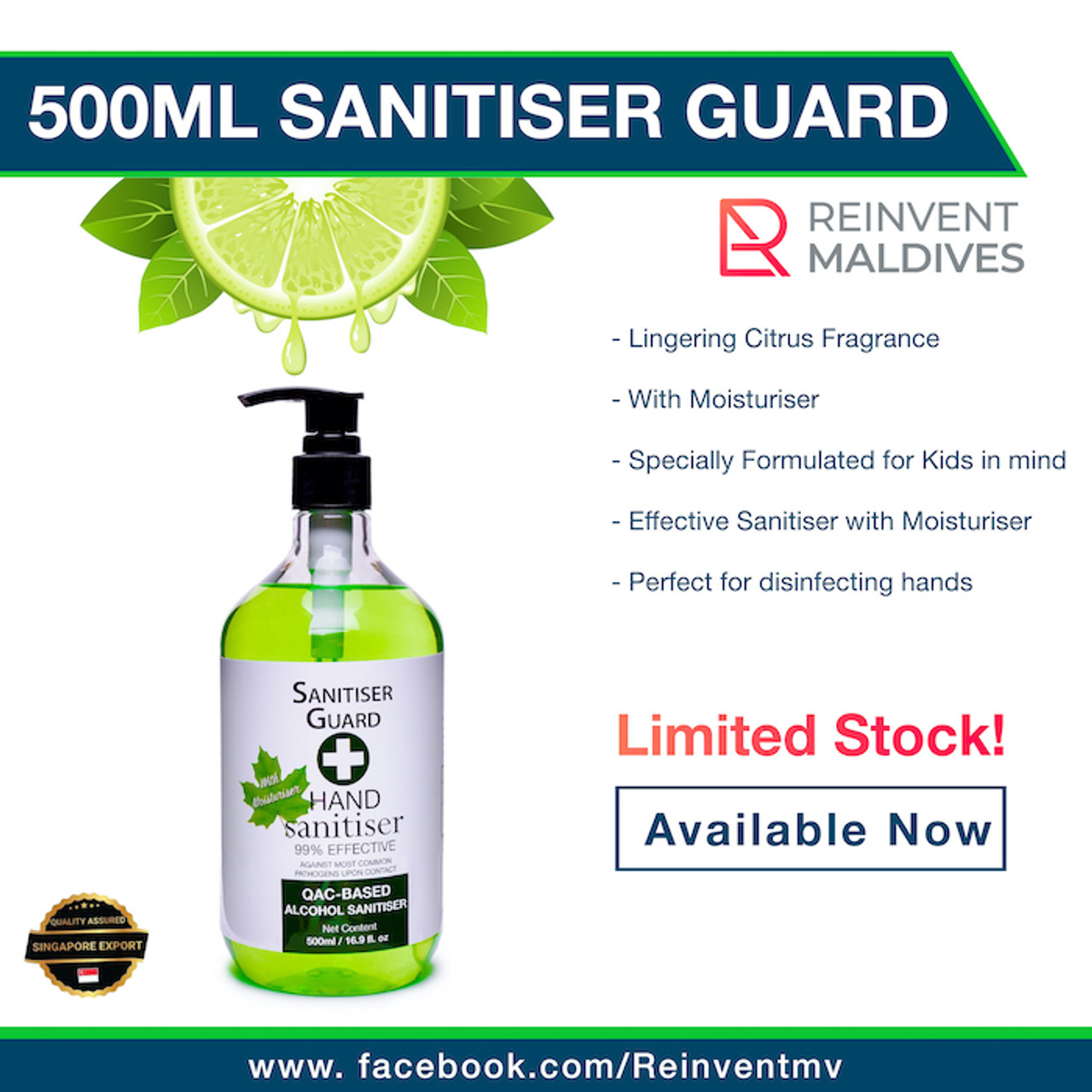 Sanitiser Guard, Citrus Fragrance Sanitiser 500ml