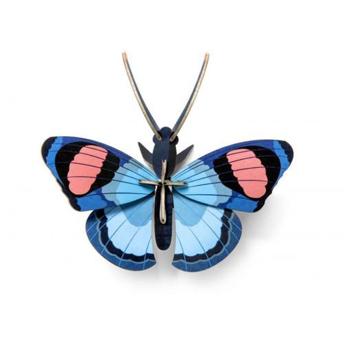 Mariposa Azul Decorativa Armable de Cartón 3D