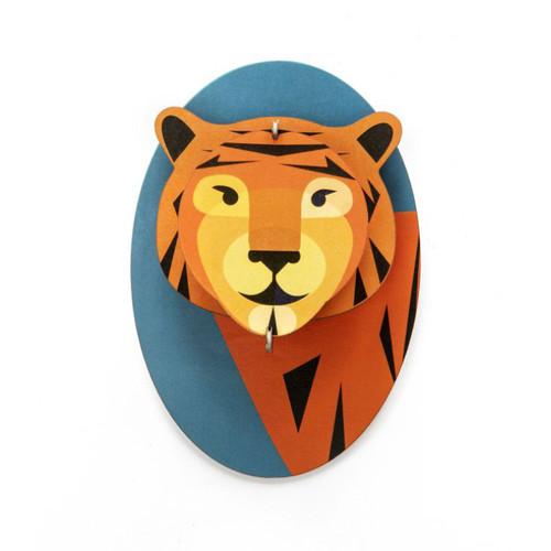 Cabeza de Tigre Decorativa Armable de Cartón 3D
