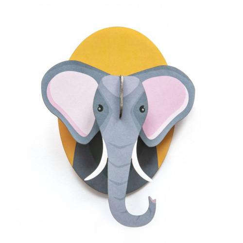 Cabeza de Elefante Decorativa Armable de Cartón 3D
