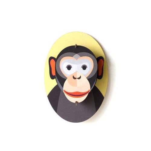 Cabeza de Mono Decorativa Armable de Cartón 3D