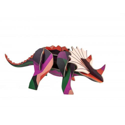 Dinosaurio Triceratops Decorativo Armable de Cartón 3D