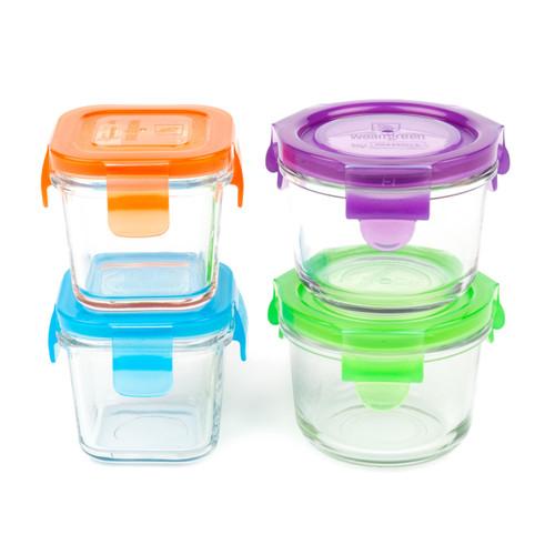 Set de 4 contenedores de alimentos de vidro
