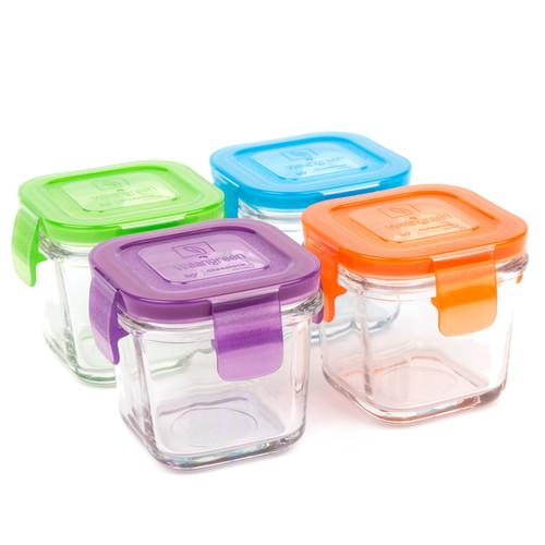 Contenedores de Vidrio Cubos- 4 Piezas 4oz- 120ml