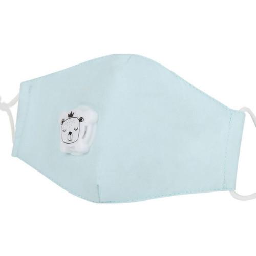 Mascarilla de Niños Reusable de Algodón con Bolsillo para Filtro de Carbon PM2.5  y Válvula de Exhalación - Azul Pastel