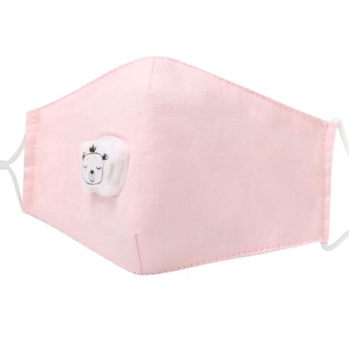 Mascarilla de Niños Reusable de Algodón con Bolsillo para Filtro de Carbon PM2.5  y Válvula de Exhalación - Rosado Pastel