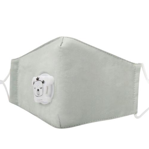 Mascarilla de Niños Reusable de Algodón con Bolsillo para Filtro de Carbon PM2.5  y Válvula de Exhalación - Verde Pastel