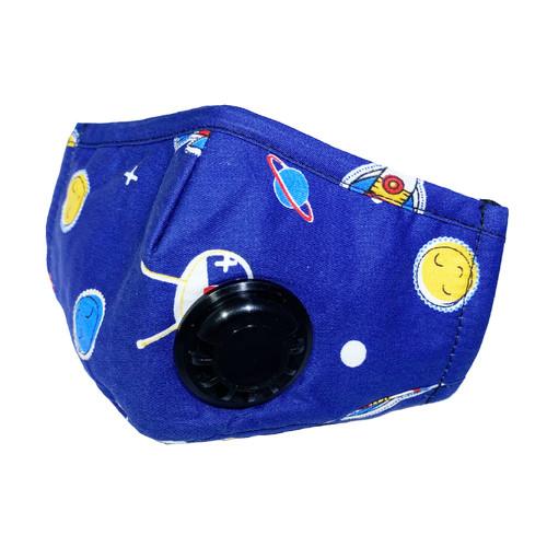 Mascarilla de Niños Reusable de Algodón con Bolsillo para Filtro de Carbon PM2.5  y Válvula de Exhalación - Cohete en el Espacio