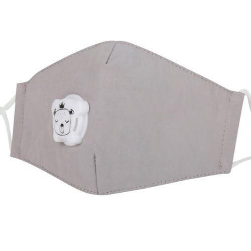 Mascarilla de Niños Reusable de Algodón con Bolsillo para Filtro de Carbon PM2.5  y Válvula de Exhalación - Gris Pastel