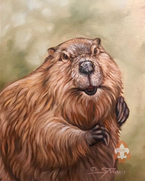 Beaver print on canvas