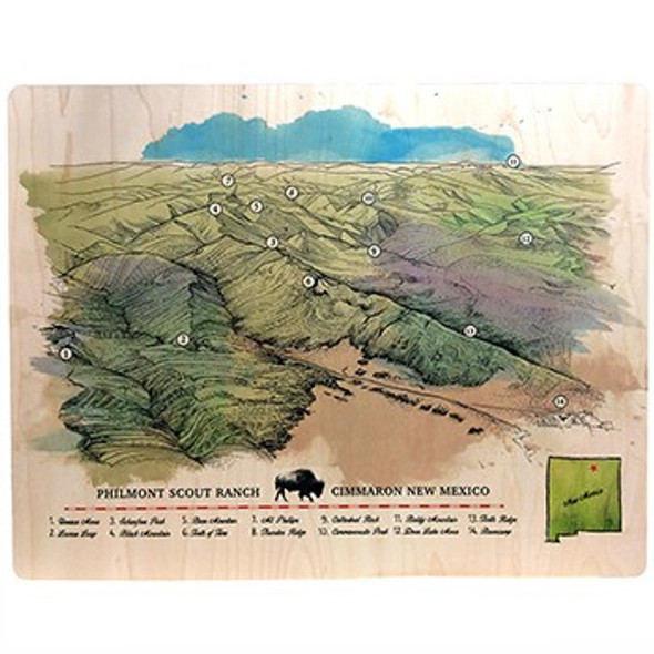 Philmont Map Wood Print