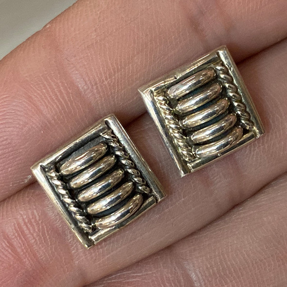Thomas Charley Navajo Sterling Silver Earrings