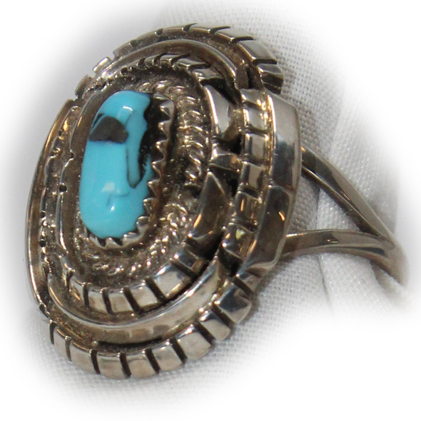 Cutout Sterling & Turquoise Ring