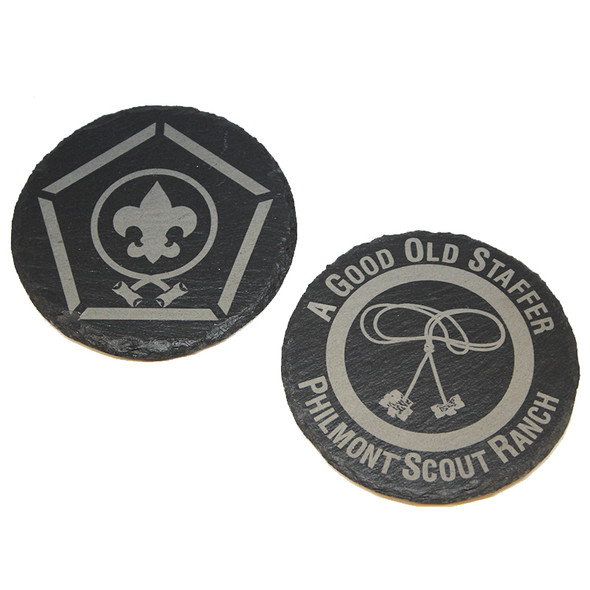 Slate Wood Badge Logo Coaster