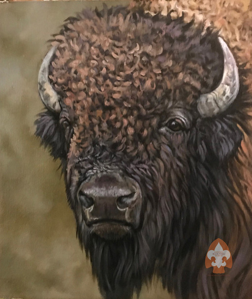 Bison print on canvas