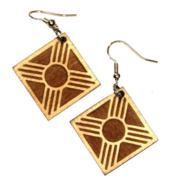Wooden Zia Earrings