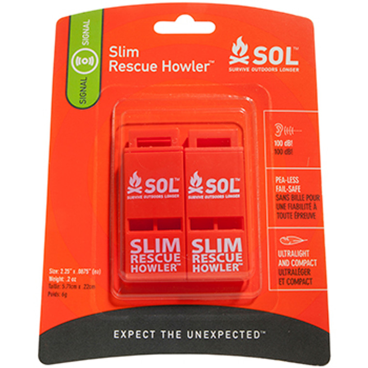 SOL Slim Rescue Howler Whistle 2 Pack