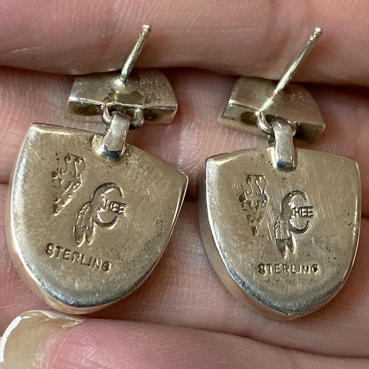Onyx & Mother of Pearl Inlay Dangle Earrings