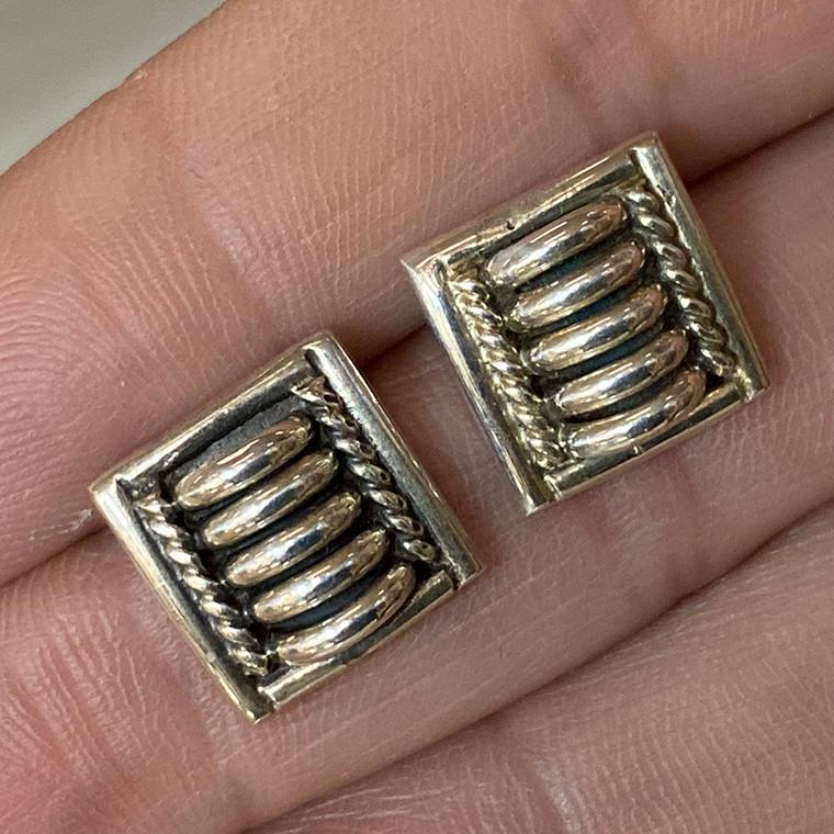 Thomas Charley Navajo Sterling Silver Earrings