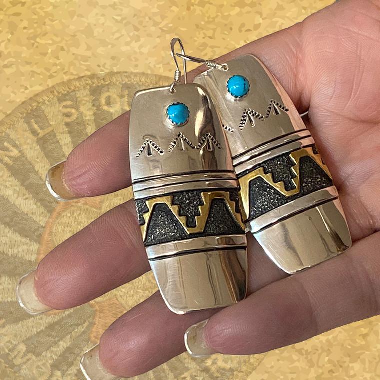 T&R Singer Gold & Sterling Silver Dangle Earrings