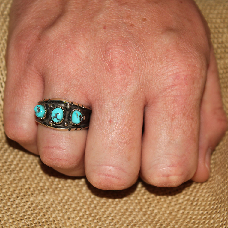 Sandcast Turquoise Ring